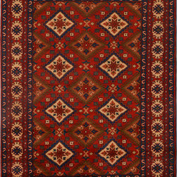 """ALRUG - Handmade Red/Rust Oriental Kargai Rug 5' 1"""" x 6' 8"""" (ft) - This Afghan Kargai design rug is hand-knotted with Wool on Cotton."""