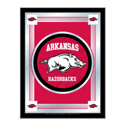 "Holland Bar Stool - Holland Bar Stool Arkansas Logo Mirror - Arkansas Logo Mirror belongs to College Collection by Holland Bar Stool The perfect way to show your school pride, our logo mirror displays your school's symbols with a style that fits any setting.  With it's simple but elegant design, colors burst through the 1/8"" thick glass and are highlighted by the mirrored accents.  Framed with a black, 1 1/4 wrapped wood frame with saw tooth hangers, this 17""(W) x 22""(H) mirror is ideal for your office, garage, or any room of the house.  Whether purchasing as a gift for a recent grad, sports superfan, or for yourself, you can take satisfaction knowing you're buying a mirror that is proudly Made in the USA by Holland Bar Stool Company, Holland, MI.   Mirror (1)"