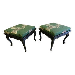 Vintage French Stools with Scalamandre Zebras - Check out these chic French style square stools with Scalamandre Jumping Zebra Fabric in their signature green. The stools have a aged black cracked finish.  French Provincial overtones are  in the design of the stools frames. Uber Chic!  these would make fabulous Stools at the end f a pair of twin beds or would be stunning as a Cocktail Table pushed together in front of a sofa.