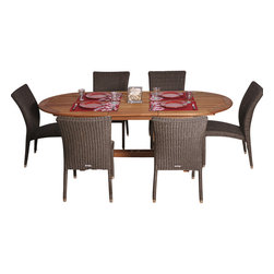 International Home Miami - Amazonia BT Le Mans Extendable 7-Piece Patio Dining Set - Great Quality, elegant design patio set, made of solid eucalyptus wood, aluminum and synthetic wicker. FSC (Forest Stewardship Council) certified. Enjoy your patio with style with these great sets from our Amazonia outdoor collection