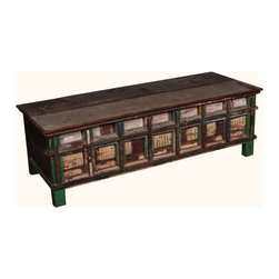 Rustic Reclaimed Wood Large Storage Trunk Chest w Raised Panels - Invest in an all-purpose furniture piece that combines practicality and panache with this Rustic Distressed Reclaimed Storage Cabinet. Boasting inset panels and interesting color variations, it serves as a conversation piece while meeting your everyday storage needs. This solid wood storage cabinet can also double as a coffee table.
