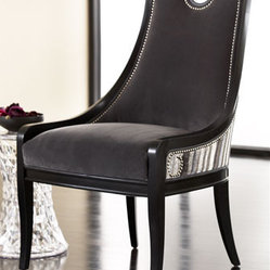 """Slated"" Chair - A great accent chair for any room in your home, the ""Slated"" chair is upholstered in luxurious fabric and handsome nailhead trim.    * 26""W x 27""D x 41""T."