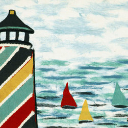 "Trans-Ocean - 20""x29.5"" Visions IV Lighthouse Multi Mat - The highly detailed painterly effect is achieved by Liora Mannes patented Lamontage process which combines hand crafted art with cutting edge technology.The 100% Polyester face, and 100% Recycled Rubber non-skid backing make this suitable for Indoor or Outdoor use and easy to clean.The low profile nature of these Lamontage mats is ideal for use in front of doors or in the kitchen, and the fun designs will bring excitement to any room of the house. Made in USA."