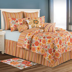 C and F Enterprises - C and F Enterprises Giselle Bedding Set Multicolor - CFID206 - Shop for Bedding Sets from Hayneedle.com! Vintage colors and a fresh flower and stripe design give the C and F Enterprises Giselle Bedding Set a retro-fabulous style. This quilt and bedding collection is filled with juicy orange yellow and red with touches of avocado green and soft white. A stunning way to dress your bed this bedding set features a quilt with oversized flowers that reverses to garden-fresh stripes. The ultimate in luxury this collection is crafted of comfy cotton and is machine-washable. Customize it by adding on a coordinating dust ruffle pillow shams and a variety of plump decorative throw pillows. It comes in your choice of size.Quilt Dimensions:Twin: 86L x 66W inchesFull/Queen: 92L x 90W inchesKing: 108L x 92W inches