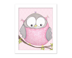 """Doodlefish - Octavia Owl on Pink in White Raised Frame - 15""""x18"""" Framed Giclee of a happy pink and grey owl on a happy lavender or pale pink background with a modern geometric pattern. Artwork is available in various frame choices."""