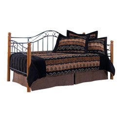 Hillsdale Furniture - Hillsdale Winsloh Daybed - A lodge theme surrounds this outstanding daybed design. The daybed features hardwood posts in a medium oak finish and is complimented by a textured black finish on the side and back panels.