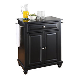 Crosley Furniture - Crosley Furniture Cambridge Black Granite Top Kitchen Island in Black - Crosley Furniture - Kitchen Carts - KF30024DBK - Constructed of solid hardwood and wood veneers this kitchen island is designed for longevity. The beautiful raised panel doors and drawer front provide the ultimate in style to dress up your kitchen. The deep drawer are great for anything from utensils to storage containers. Behind the two doors you will find an adjustable shelf and an abundance of storage space for things that you prefer to be out of sight. Style function and quality make this kitchen island a wise addition to your home.
