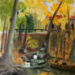 """""""Sunny October Day In Gladwyne"""" Artwork - Your schedule doesn't allow for a lot of long hikes through the woods, but hanging this gorgeous painting can at least bring the outdoors to you. Whether hung in your office, bedroom or living room, drinking in Inna Lazarev's serene landscape is the next best thing to taking the actual hike."""