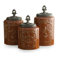 Antique Canisters, Set of 3, Brown