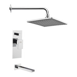 Remer - Modern Polished Chrome Square Rain Shower System - Single function tub and shower faucet.