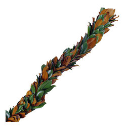 The Original Magnolia Garland - Copper and green leaves cut from our farm and hand woven into a cascading classic. Easy to hang and enjoy while trimming your home. Each garland is individually packaged and boxed in its own tray.