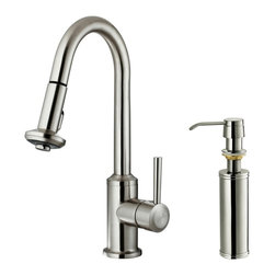 Vigo Industries - 12 in. Kitchen Faucet with Soap Dispenser in Stainless Steel - You deserve a high performing kitchen - why not start with a Vigo faucet for your sink?