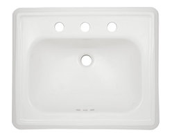 """Toto - Toto LT531.8 Cotton White Promenade Self-Rimming Lavatory 8"""" Centers ADA - The Toto LT531.8#01 is a rectangular self-rimming lavatory, with sculpted traditional lines in the promenade suite from Toto USA. The Toto LT531.8#01 measures 28"""" x 22"""", faucet mounts on 8"""" center and comes in cotton white finish"""