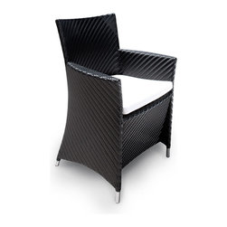 Westminster Teak Furniture - Valencia All Weather Wicker Dining Armchair - Part of the Valencia Collection, this dining armchair is truly an indoor-outdoor furniture with style and functionality. Made of durable extruded polyethylene on powder coated high performance aluminum frame with stainless steel detainling. The furniture is lightweight yet sturdy enough to withstand the rigors of everyday use and the extremities of outdoor weather including temperature fluctuations , UV exposure from sunlight, mold, and mildew. The fibers used have been specifically engineered to replicate not only the look and feel of natural rattan and wicker but its robust characteristics makes for easy care.  Built to commercial specifications.