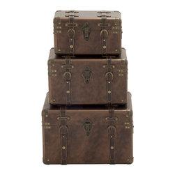 Benzara - Modern and Unique Style Wood Leather Case Set of 3 Home Decor - Description: