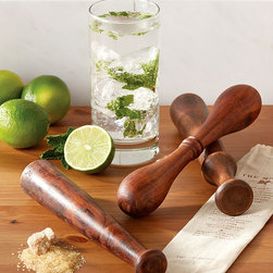 Wooden Muddler in Gift Pouch, Set of 3 - Polished Sheesham wood is carefully shaped and sanded to form an excellent staple for any bar area. The Old Fashioned Wooden Muddlers are excellent tools for making magical mojitos or any other cocktail you might enjoy. Keep one for yourself and give the others to well deserving friends who appreciate a good cocktail hour as each comes in its own gift pouch.
