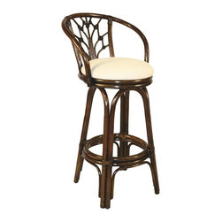 Hospitality Rattan - Hospitality Rattan Valencia Rattan & Wicker Antique Swivel Bar Height Stool - Add some elegance and sophistication to your home bar with The Valencia Counter stool. This traditional wicker and rattan swivel barstool is built with solid rattan pole construction. The Valencia Collection offers three basic finishes Antique Natural and Whitewash. The counter stools feature commercial grade reinforced rattan bases swivel mechanisms & reinforced double pole footrests. The stool will come with instructions and requires assembly. This counter stool comes with a comfortable beige cushion as shown. For an upcharge you can choose from your choice of over 35 indoor fabrics with a variety of colors and patterns to match your decor. The Valencia Counter stool is a gorgeous addition to any home. Since 2000 Hospitality Rattan has been designing and distributing contract quality rattan wicker and bamboo furnishings. A variety of indoor and outdoor collections derived from the best possible materials is available for the furniture buyer who wants that tropical feel. Features include Includes cushion with fabric as shown Swivel Mechanism Included Constructed of commercial quality rattan poles Requires Some Assembly (Instructions Included). Specifications Finish: Antique Material Type: Rattan Poles & Woven Wicker.