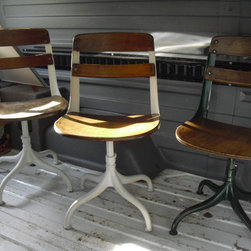 Industrial 1900s/1930s School Pedestal Chairs by The Enchanted Attic, Set of 5 - Classic schoolhouse chairs would be such a focal point in a dining room. They'd add a bit of nostalgia and character.