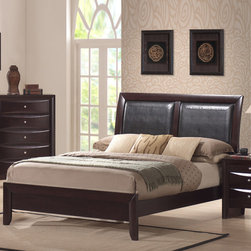 Greystone - Avery Panel Bed - The sleek and contemporary design of the Avery collection will add style and sophistication to any bedroom. This bed offers a rich merlot finish and clean lines is complimented by chamfered corners and luxurious black faux leather panels. Strength and durability come from our kiln dried Para veneers and solid hard wood frame, while maintaining a flawless surface with beautiful color tones. Features: -Transitional style.-Frame constructed of kiln dried solid hardwood.-Rich merlot finish.-Avery collection.-Distressed: No.-Collection: Avery.Dimensions: -Overall Product Weight: 67 - 104 lbs.