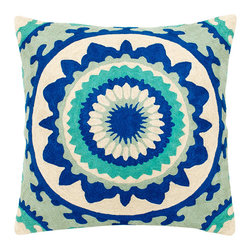 Trance in Cerulean Decorative Pillow - The unique aqua and indigo pattern in these hand embroidered decorative pillows will keep you in a trance-like state with their hypnotizing design. Inspired by the free-spirited lifestyle of the 1960s and 1970s, these cotton and silk pillows will fill your house with an adventurous style along with an open mind. Dry clean only, each pillow comes with a synthetic down insert.