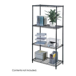 Safco - Industrial Wire Shelving Starter Unit in Black - Whether storing office supplies or home goods, this open wire shelf unit has three wire shelves, all height adjustable in one-inch increments. Steel construction with black powder coat finish for durability. Four posts create a stable unit that will hold a lot of weight. Three open wire shelves. Four posts. Snap-together clips. Prevents dust accumulation. Powder coated finish. Material Thickness: 10 ga. (shelf surface), 3 ga. (frame), 16 ga. (post), 6 ga. (wave pattern). Shelf adjusts in 1 in. increments. 1250 lbs. evenly distributed shelf carrying capacity. 2500 lbs. evenly distributed overall carrying capacity. GREENGUARD Certified. Made from steel. Available in additional finish. 36 in. W x 18 in. D x 72 in. H (48 lbs.). Assembly InstructionGet wired! With Wire Shelving you're sure to get the storage space you need. These shelves are designed to get your office organized and keep it that way. Easily store office supplies, break room supplies, paper, marketing materials and other supplies so they are easy to find and incur no damage. Great for your supply room, storage area, mail room, warehouse, storage closet, garage area or even a classroom, assembly area or production area. Get storage where you need it, and always be able to find what you're looking for!