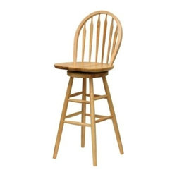 Winsome Trading, INC. - Winsome Wood Windsor Swivel Seat Barstool - Display your classic sense of style with the traditional 30 Inch Windsor Bar Stool. This chair features a swivel seat and contoured back for maximum comfort