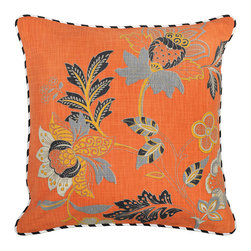 "Villa - Prato Orange Pillow Set of 2 - Whimsical style combines with stunning hues on the orange Prato pillow. Accented by black and white piping, this plush accessory allures with a bold floral pattern. 22""W x 22""H; Set of two; Orange, blue, white, gray; 100% cotton slub; Includes 95/5 feather down insert; Hidden zipper closure; Hand wash only"