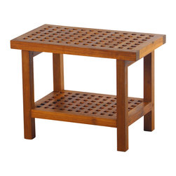 Aqua Teak - Teak Grate Bench With Shelf - A solid teak stool with an additional shelf. Stool is appropriate for use in the shower, bathroom, deck, or patio. Classic modernistic style fits in both modern or traditional decors. Provides both functional and esthetic features to your decor. Dimensions: 24 in. L x 13.75 in. W x 18 in. H (23 lbs.)Teak wood has a life expectancy of 75 years if left untreated due to its natural rubber content that naturally resists moisture. This makes teak products ideal for indoor and outdoor use. No other wood compares to Teak when it comes to durability, elegance, stability and low maintenance. Aqua Teak only uses wood from government owned plantations that practice sustained harvesting. This means that harvesting is controlled to be no more than the rate of reforestation in any given year.