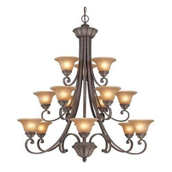Dolan Designs Lighting - Fifteen-Light Chandelier - 829-38 - This three-tiered chandelier features fifteen amber glass shades, which have a brown marbling and create a warm illumination. Gold accents and leaf-patterning add a distinctive look to the metal parts of the fixture. Scrolling arms add movement to the piece and support the shades. This impressive chandelier is a great addition to an entryway or formal dining area. Includes six feet of chain. Takes (15) 60-watt incandescent G16.5 bulb(s). Bulb(s) sold separately. UL listed. Dry location rated.