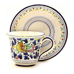 Artistica - Hand Made in Italy - ARABESCO: Tea/Coffee Cup and Saucer - ARABESCO Collection: The Arabesco evokes Italian country charm and is one of the most popular patterns created in Deruta - Italy.