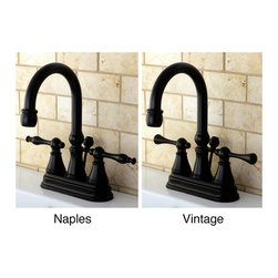 None - High Spout Oil Rubbed Bronze Bathroom Faucet - The classic look and feel of this four-inch centerset oil-rubbed bronze bathroom faucet will take you back to earlier times. This faucet comes with optional Naples or Vintage double-handled levers and will add a timeless feel to your bathroom.