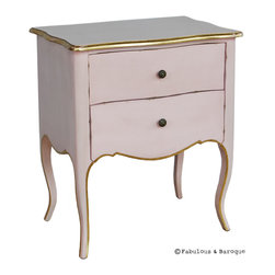 Fabulous & Baroque - Fils de France - Sweet Pink - Simple yet elegant, the Fils de France side table a fabulous addition to any room. Made out of mahogany, it's simple lines, soft pink finish and the delicate touch of gold leaf make it understated and complimentary to a many varied decor.
