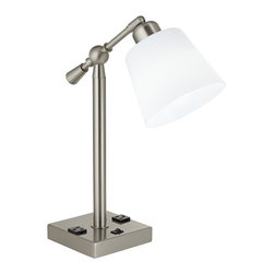 """Lamps Plus - Contemporary Courtland Brushed Steel Desk Lamp with Power Outlets - Energy-efficient desk lamp with power outlets. Brushed steel finish. Frosted white acrylic shade. Black on/off rocker switch on base. Weighted base. Two convenience power outlets on the base. Swivel head. Includes 26 watt GU24 base CFL bulb. Dedicated GU24 socket. 17 1/2"""" high. 6"""" wide. 13 1/2"""" deep. Shade is 4"""" across the top 6"""" across the bottom 5"""" high.  Energy-efficient desk lamp with power outlets.  Brushed steel finish.  Frosted white acrylic shade.  Black on/off rocker switch on base.  Weighted base.  Two convenience power outlets on the base.  Swivel head.  Includes 26 watt GU24 base CFL bulb.  Dedicated GU24 socket.  17 1/2"""" high.  6"""" wide.  13 1/2"""" deep.  Shade is 4"""" across the top 6"""" across the bottom 5"""" high."""