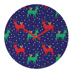 """DENY Designs - DENY Designs Zoe Wodarz Geo Pop Deer Blue Round Clock - Talk about a small home decor accessory that makes a HUGE impact! Our affordable 12"""" Round Clock comes complete with the artwork of your choice and coordinating clock hands. Hang it on it's own or group it in a collection. Time's a tickin'!"""