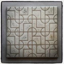 "KISMET CERAMIC TILE: LOLA - KISMET TILE ANDROMEDA pattern in 6"" x 12"" metallic THOR and IDOL glazes with multi-color lines"