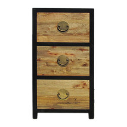 Golden Lotus - Oriental Mid Brown Black Trim Storage Dresser Cabinet - This is a simple dresser with three drawers in natural mid brown wood pattern color and black color edge.