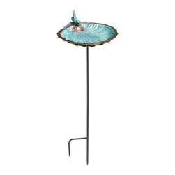 Scallop Shell Birdbath w/ Stake - This Scallop Shell Birdbath w/ Stake features an antique copper finish and a copper finish wrought iron twist stake.  The WI support system is constructed to bring different options to suit customer's particular needs. It comes with threaded housing at bottom (unless otherwise noted) and is compatible with all our stakes and stands.