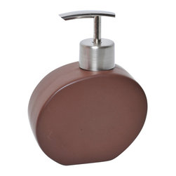 Stoneware Soap Dispenser Brown - This elegant soap dispenser for bathrooms is in stoneware with simple lines and contemporary curves to add a modern look and feel to your decor. This soap dispenser is a lovely accent for any bathroom and its shape is circular with a length of 4.21-Inch, a width of 1.97-Inch and a height of 5.51-Inch. The top has a chrome-plated opening to unscrew for refilling with soap or lotion. Wipe clean with soapy water. Color brown. Accessorize your bathroom countertop in a trendy style with this charming soap dispenser! Complete your decoration with other products of the same collection. Imported.
