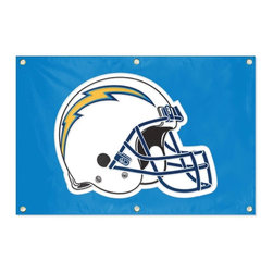 Party Animal - San Diego Chargers NFL Team Banner Flag - This AWESOME Fan Banner features applique and embroidered graphics with 3 plastic hangers for easy wall hanging. It's perfect for your Man Cave, Game Room, Office or anywhere you want to show love for your favorite team. Measures 2 x 3 feet.