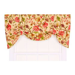 Ellis Curtain - Vareen Antique 60 x 24-Inch Tie-Up Valance - - Ellis Curtain Vareen Floral Print Tie-Up Valance --Transform any room from bleak to bright and cheery in a matter of minutes with the invigorating colors and radiant design of our Vareen Curtain Program. Floral prints have a presence that cannot be denied! The Vareen is a multi colored medium scale floral print pattern on solid antique colored ground that features a range of shades and colors that coordinate easily with a variety of solids, checks, plaids, and stripes. Made with 52-percent polyester and 48-percent, 5-ounce cotton duck fabric, creating a smooth draping effect with soft texture and easy maintenance. The Tie-Up Valance is a one-piece valance with two adjustable strap ties that drape over a decorative 3-Inch rod pocket for easy hanging. Width is measured overall 60-Inch, length is measured overall 24-Inch from header top to bottom of panel. Machine washable   - A drapery rod, which is not included, is required to complete installation  -Please note that bottom curtains are sold separately. Ellis Curtain - 730462730381