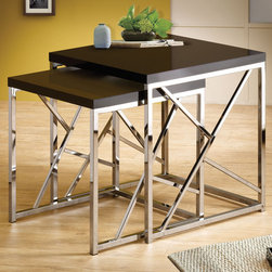 Coaster - 901043 Nesting Tables - Black - Accentuate your living room with a modern twist. This two piece nesting table set features smooth high gloss black table tops and a stunning chrome base with decorative cross bars.