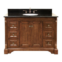 Legion Furniture - Legion Furniture 49W x 22D in. Raymond Granite Vanity Top - LGN390 - Shop for Bathroom Counter Tops from Hayneedle.com! The Legion Furniture 49W x 22D in. Raymond Granite Vanity Top takes a traditional bathroom fixture into truly elegant territory. Crafted with a slab of -inch thick squared-edge granite in your choice of absolute black or dark tan brown this countertop will nicely complement any bathroom decor style. Vanity top features a single oval sink cutout and three pre-drilled faucet holes for an 8-inch spread. About Legion FurnitureLegion Furniture is a Sacramento California-based company that specializes in commercial and residential furniture. The company offers thousands of items all made by expert craftsmen. Their product lines incorporate a wide variety of styles to address the needs of every designer. From contemporary vanities to traditional barstools Legion Furniture can outfit your home in the style of your dreams.