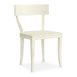 Thomas Side Chair - Boasting elegant lines in its c-shaped back and subtle saber legs, the Thomas Side Chair delivers simple sophistication to a dining room or kitchen. This wood seat offers a choice of satin luster colors created from a unique multi-layered lacquer and antiquing process. Shown in Raw Cotton. Our Cottage House Collection is a wonderful blend of antique cottage style furniture that beautifully interpret reproductions through a labour of passion and quality. Using a multi-layered hand lacquering and antiquing process, these heirloom quality furniture pieces are designed to last generations. What makes this collection stand out from the rest is its great attention to detail and alder solid wood construction. Hand applied distress markings artistically mimic normal wear closely representing the original antique piece. The ideal solution to bring an eclectic, old world feeling into today's modern decor!