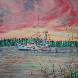 """Sunset Fishing Boat!!"" (Original) By Marvin Tweedy - I Was Transfixed By All Of The Bright Colors And Richness Of The Sky While Having Dinner At The Boat House Restaurant In Niceville.   I Decided To Paint The Boat And Sky, But Took Most Of The Town In The Background Out, To Make The Colors And Main Image Being The Sky And Colors In The Water.  I Hope That You Enjoy!!  Mlt"