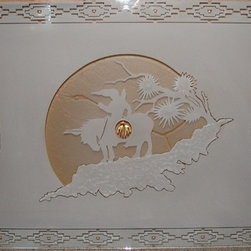 """Southwestern """"end of trail"""" Window etching with copper leaf - Suzan Hernandez"""