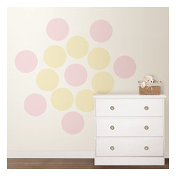 "Baby Dots Room Set of Wall Decals - Sweet and charming, the Baby Dots Room #2 is an adorable decor choice for any nursery. Pops of yellow and pink provide the perfect warm and inviting atmosphere for your little one. The Baby Dots Room #2 Set contains 8, 13"" Gigi Pink Dots and 8, Buttercup Yellow Dots for a total of 16 pieces."