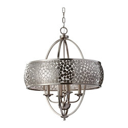 """Murray Feiss - 4 Zara 4 Light Pendant With Mosaic Shade - Material: Steel. Silver Organza Shade. Number of Bulbs: 4. Bulb Base: Candelabra (E12). Bulb Type: Incandescent. Bulb Included: No. Watts Per Bulb: 60. Wattage: 240. Voltage: 120. Height: 28.8125"""". Width: 24"""". Canopy Diameter: 5.125"""". Backplate Diameter: 5.125"""". Chain Length: 60"""". Wire Length: 180"""". UL Listed: Yes. UL Rating: Dry Location."""