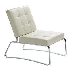Nuevoliving - Nuevo Living Hermes Lounge Chair - White - Sophisticated, modern lounge chair will enhance any room in your home. You'll love its soft and supple leather upholstered seat and back - each is accented with classic tufted texture.