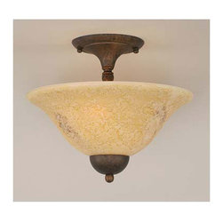 Toltec Lighting - Dark Granite Semi-Flush with Italian Marble Glass - - 12 Italian Marble Glass   - Bulbs not included Toltec Lighting - 120-DG-528