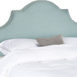 Safavieh - Hallmar Arched Queen Size Headboard - Sky Blue - Classic and expertly tailored, the softly arched Hallmar full headboard is the ideal choice for a beautiful bedroom makeover in minutes. With its luxurious sky blue natural blend fabric, and stunning silver nailheads outlining a graceful silhouette, this plush pre-upholstered headboard presents like a custom designer piece. Attaches to any standard size metal frame bed.